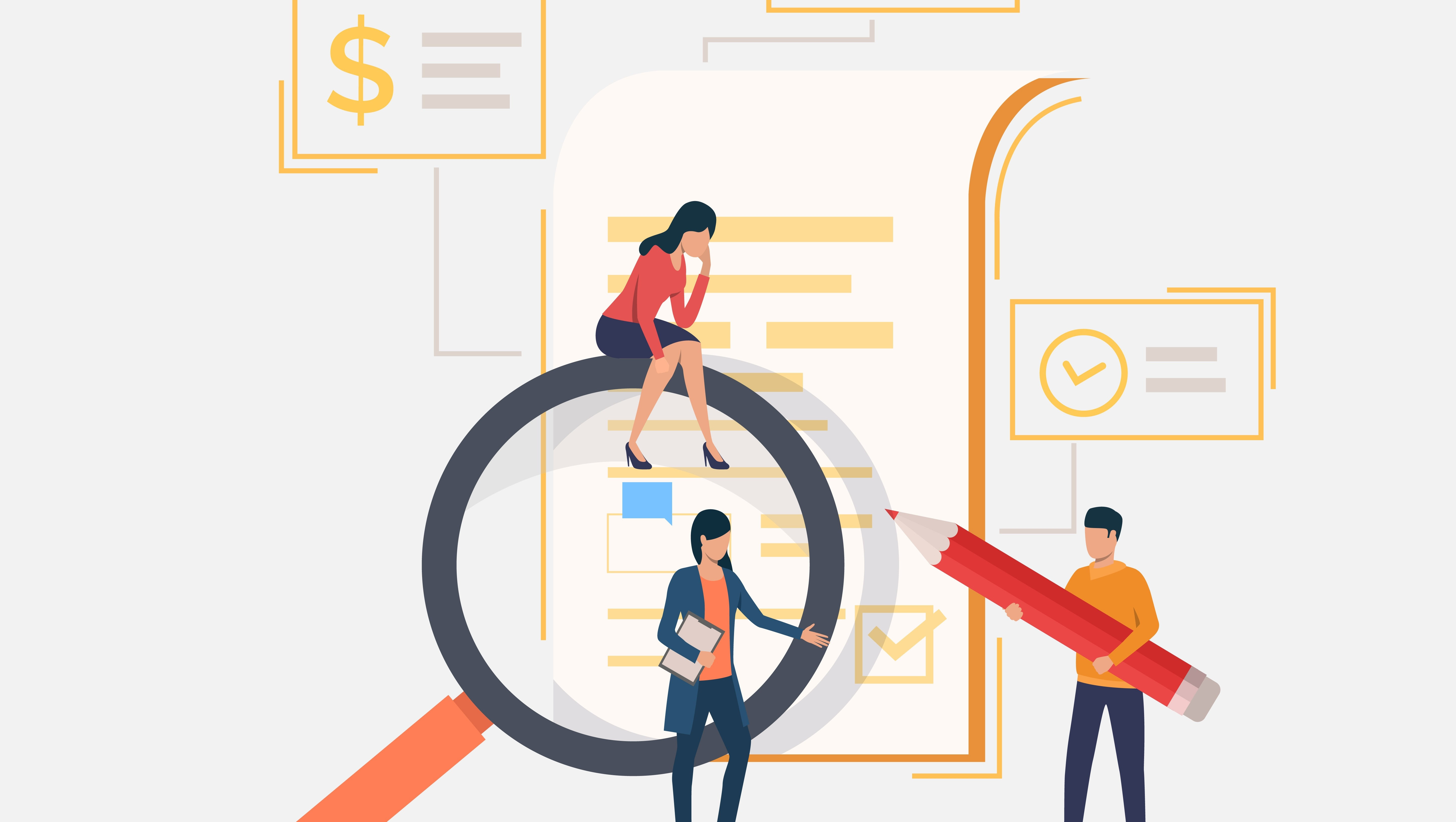 Business team, magnifying glass, document. Analysis, research, browser. Search concept. Vector illustration can be used for topics like business, internet, communication